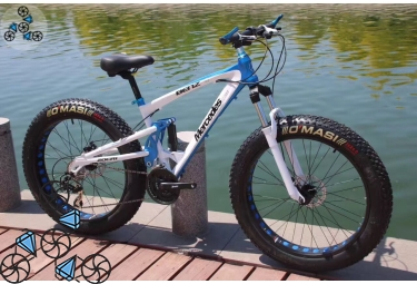 Велосипед FatBike Mercedes M3 White Blue на широких покрышках